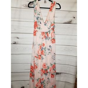 Lulu's Floral Pink Sleeveless Dress